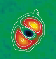 ​Herschel image of κ Coronae Borealis 31.1 parsecs away. This K giant is about twice as massive as our Sun. The red regions correspond to dust orbiting the star. Interestingly, this star also hosts at least one exoplanet with a mass of about 2 Jupiters. Credit: Bonsor et al. 2013.